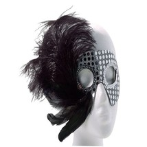 Black and Silver Sequin Showgirl Mardi Gras Mask With Assorted Color Fea... - $8.10 CAD