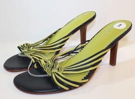Ralph Lauren Genuine Leather High Heels Green Black Open Toe Sandal Size 9 - $26.38