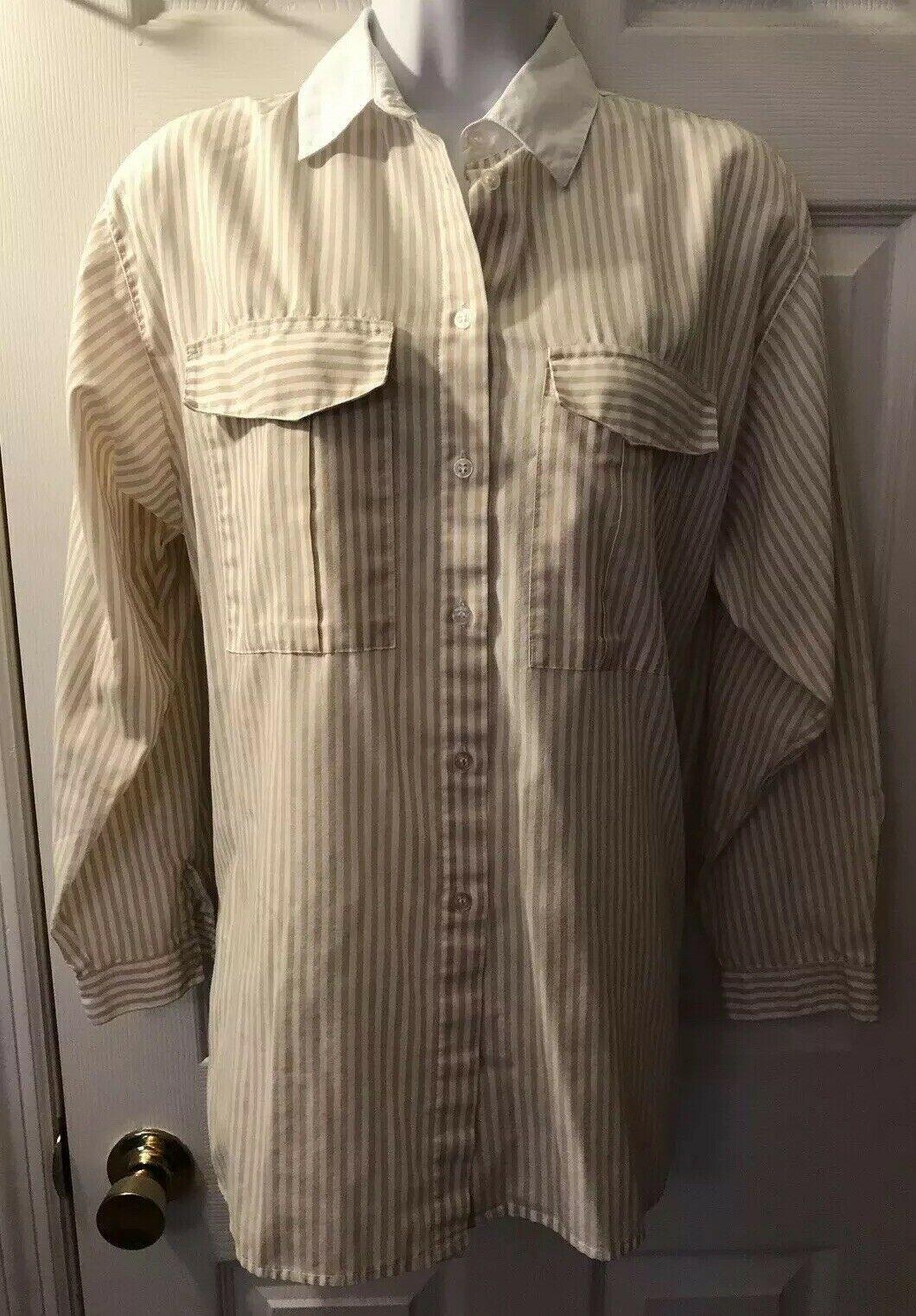 Vtg DIANE VON FURSTENBERG Striped Button Down Shirt DVF White Tan Blouse Top 14