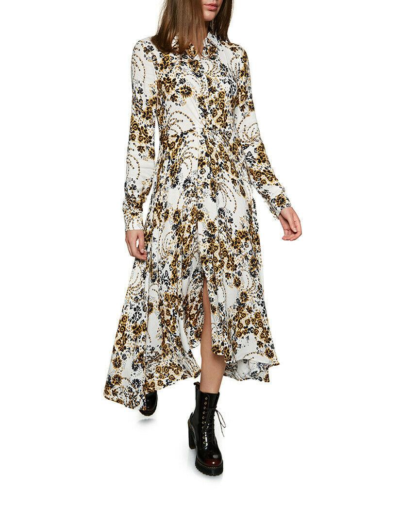 Free People Tough Love Printed Maxi Shirtdress Ivory Dress