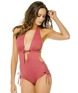 Vitamin A Brena Havana Rose Ecolux Plunge Halter Maillot One piece Swims... - $99.00