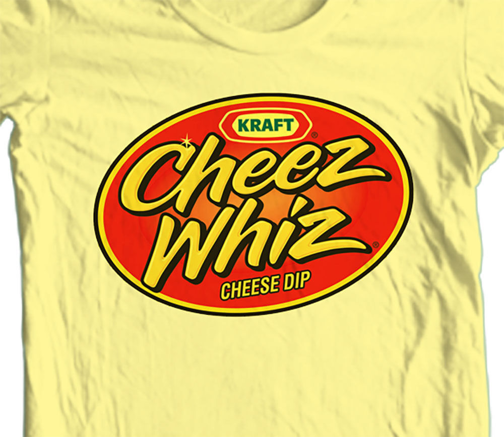 Cheez Whiz T-Shirt retro vintage 1980s brands 100% cotton yellow graphic tee