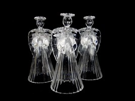 Crystal Candle Holders, Set of 3 Angels, Mid Century Crystal Angel Candl... - $24.45