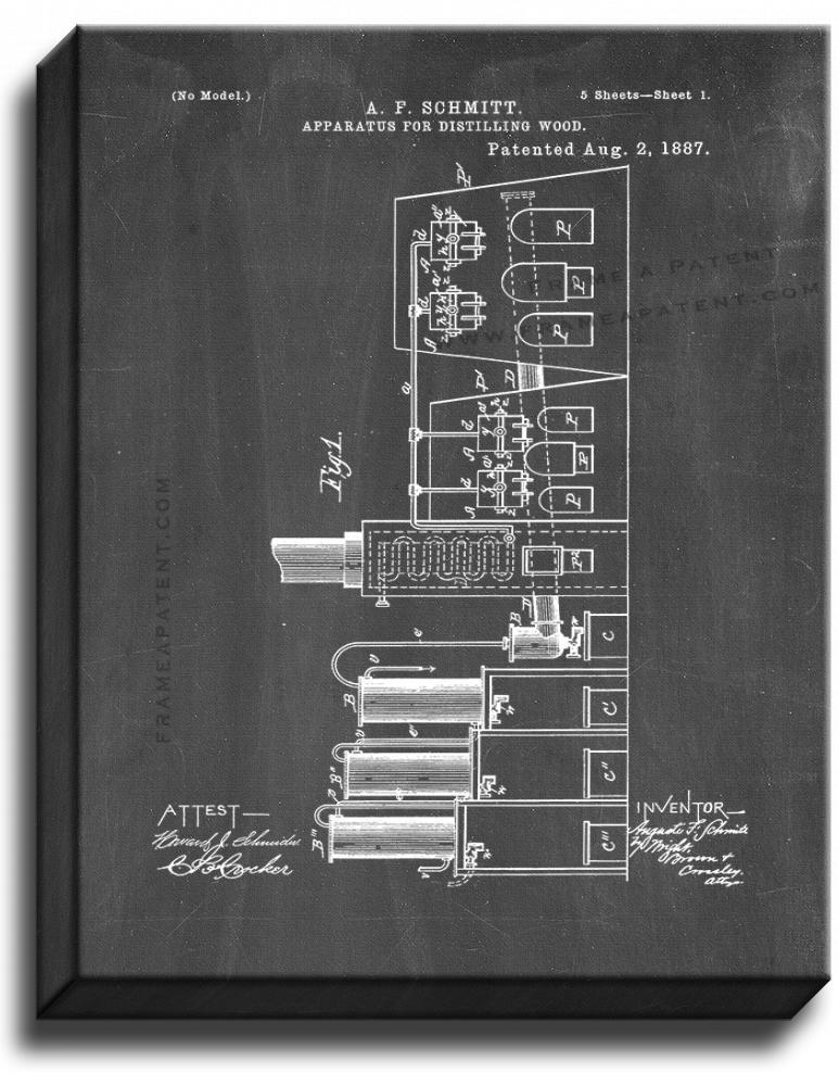 Primary image for Apparatus For Distilling Wood Patent Print Chalkboard on Canvas