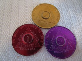 Lot of 3 AA Alcoholics Anonymous Month Recovery Sobriety Chip Tokens Ser... - $10.59
