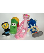 PLUSH ASSORTED TOY  SMALL STUFFED ANIMALS -sonic-pink panther-tweety-veg... - $18.00