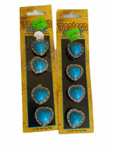 Vintage Western Express Button Covers Turquoise Silver Tone Boho Heart - $12.86