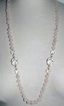 VTG Gold Tone Pink Polished Rose Quartz Clear Glass Bead Beaded Necklace - $39.60