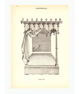 Gothic Chippendale Bed Book Art Print Illustration Ornamental Canopy - $10.99