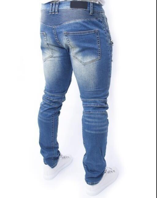 New Designer Regular Fit Men Jeans Fully Ripped Handmade Denim Jogger Pants Dist