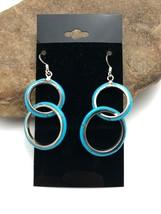 "Amazing Sterling Silver Loop Dangle Blue Turquoise Earrings 1.75"" 3265 - €107,65 EUR"