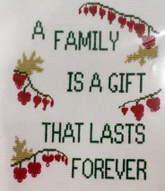 Cross Stitch Patty Ann Creations A Family is a Gift That Lasts Forever N... - $15.84