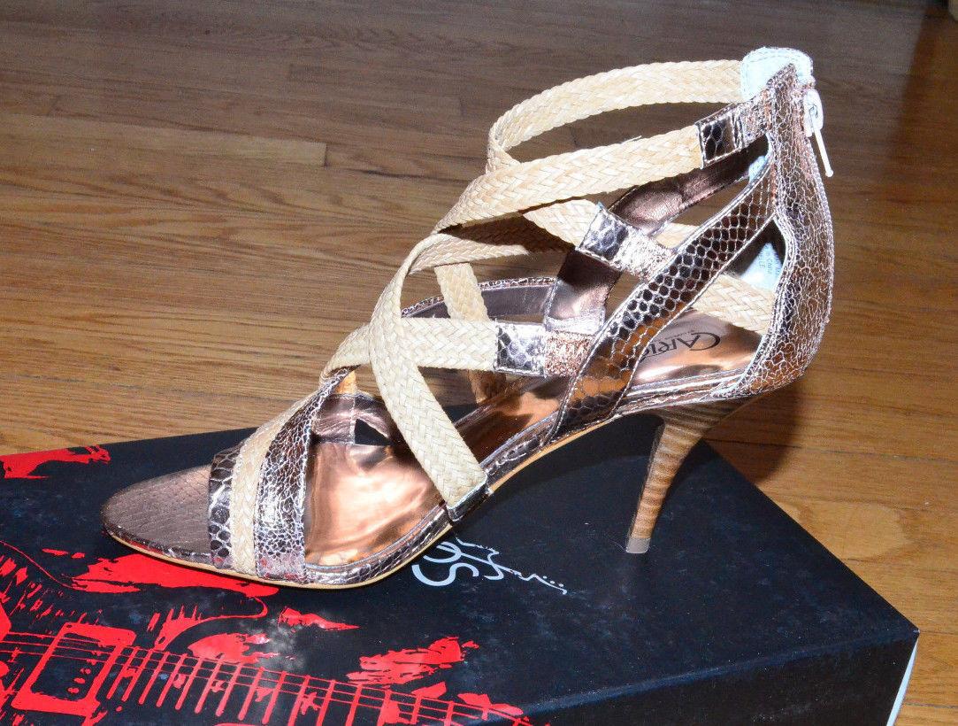 CARLOS SANTANA Gold Strap Shoes Hills Pumps Nouvelle Dress Sandals size 7.5 NEW