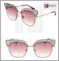 Jimmy Choo Rosy Gunmetal Pink Grey Glitter Bar Flat Mirrored Sunglasses ROSY/S - $220.08