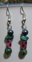 Green Stone and Pink Polka-Dot Dangle Earrings - $25.00
