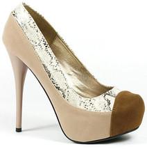 Nude Beige Brown Velvet Snake Skin High Stiletto Heel Platform Pump Qupid  - $9.99