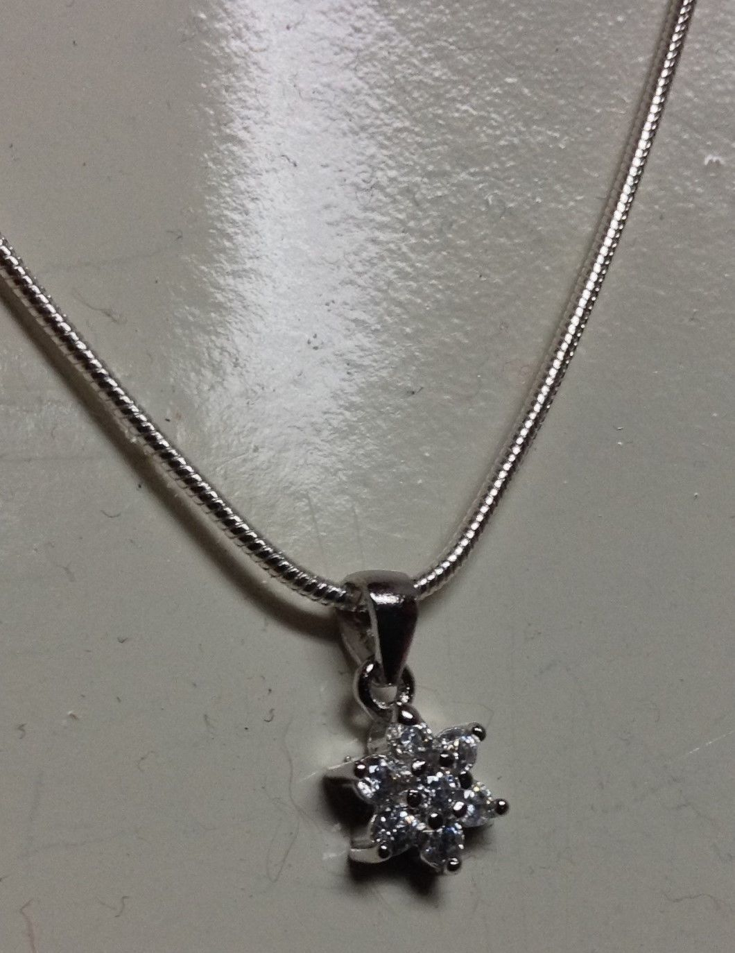 "Sterling Silver Crystal Snowflake Necklace NWT Stamped 925 18"" Gift Box - SALE"