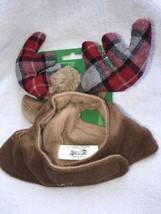 Christmas Costume Cat Antlers Plaid Cap Hat Pet Clothes One Size NWT Tim... - $9.99