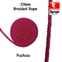 10mm Pink Braided Cotton Rope 100% Natural Soft 8 Strand Craft Decor - $2.82+