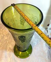 "Indiana Glass Colony Grapes & Leaves Avocado Green Vase 9 5/8"" tall image 8"