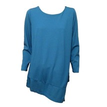 christopher & banks Womens Teal Blue Long Sleeve Asymmetric Casual Top S... - $8.91