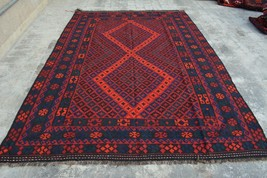 6'8 x 10' Ft, Afghan Handmade area Vintage Maimana Kilim Persian rug woo... - $675.00