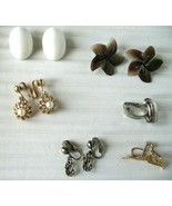 6 Pairs Lot Vintage  Clip On & Screw Back Earrings Square Knot Mother of... - $9.28