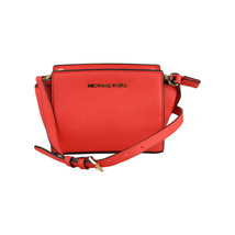Authentic Michael Michael Kors Red Leather Mini Selma Crossbody Bag - $138.60