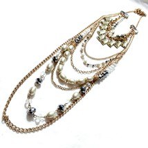 R72 Layered Boho Necklace Faux pearls Gray crystals clear crystals acryl... - $17.77