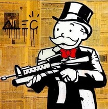 "Alec Monopoly Banksy HD Print on Canvas Urban art Wall Decor Gun Man 24x24"" - $24.74"