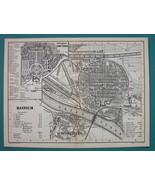 1884 MAP Baedeker - GERMANY Mannheim City Plan - $19.80