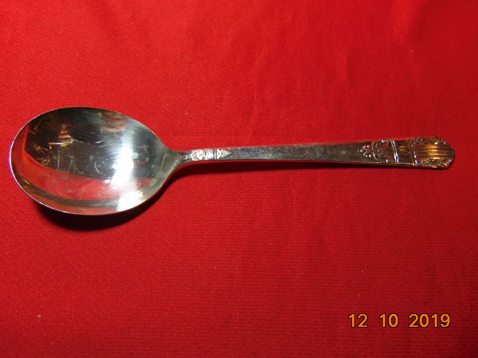 "Primary image for 7"" Silver Plated, Soup (gumbo) Spoon, Wm A Rogers/Oneida, 1938 Harmony Pattern."