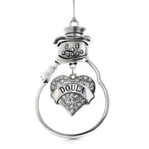 Inspired Silver Doula Pave Heart Snowman Holiday Decoration Christmas Tree Ornam - $14.69