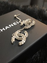 SALE* AUTH CHANEL 2019 LARGE CC LOGO Crystal Dangle Drop SILVER Earrings image 12