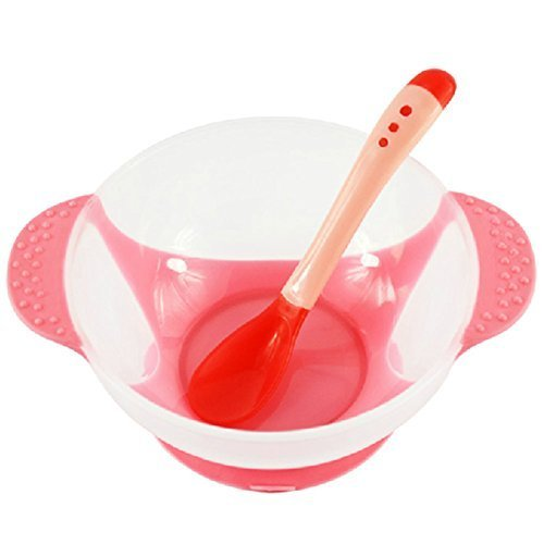 Temperature Sensing Color-changing Spoon And Bowl(Red)