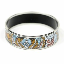 HERMES BRACELET 65 Wide SILVER Printed Enamel Bangle - $429.95