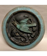 Unique Turquoise & Black Bird on a Tree Limb Wall Plaque Decor - $21.95
