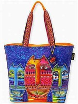 "NWT Laurel Burch Large Purple & Orange Three Amigos Cat Tote 20 x 15"" SH... - $45.85"