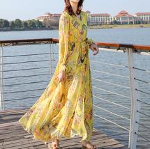 Long Sleeve Plus Size Floral Chiffon Dress Lady Maxi Long Chiffon Flower Dress   image 5