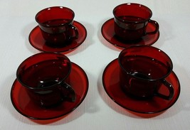 Vintage Arcoroc Classique Ruby Red Glass Cup and Saucer Set of Four - $25.99