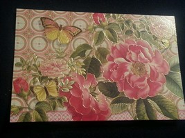"Punch Studio 4""x6""gold embossed card-Fuscia flowers-butterfly-wow envelo... - $3.60"