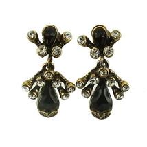 VINTAGE FLORENZA DROP DANGLE SCREW BACK EARRINGS FAUX GARNETS & DIAMONDS - $62.99