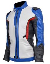 Overwatch Game Soldier 76 Biker Synthetic Leather Jacket image 4