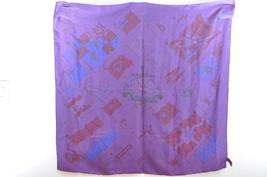 "HERMES Scarf """"PAVOIS"""" Purple 100% Silk Auth ar317 - $162.00"