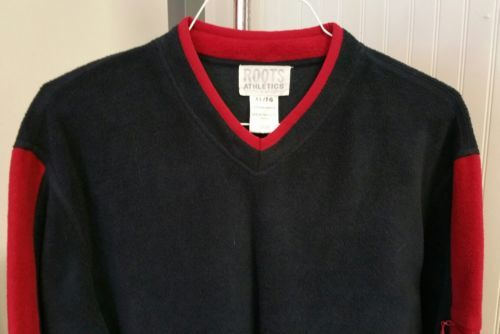09be06e7f083 ... Vintage Roots Athlétiques Canada Bleu Marine Rouge Pull Polaire Sweat  XL ...