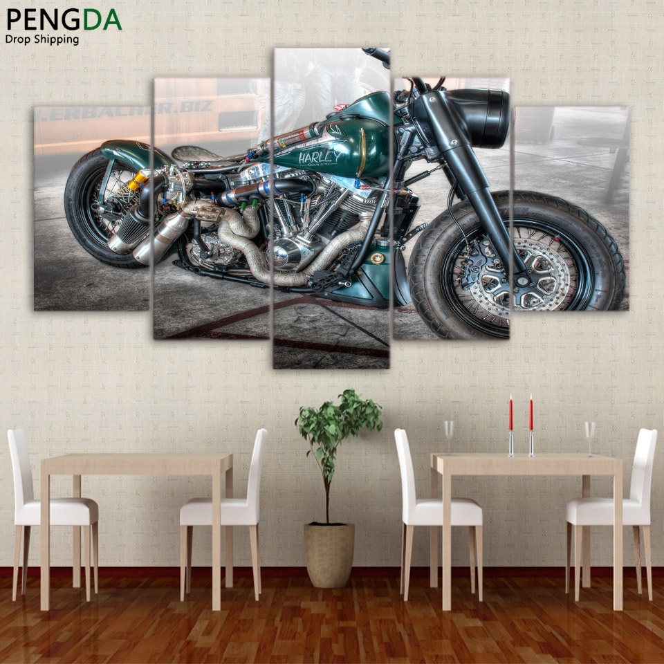Used, Retro Motorcycle Harley Davidson  5 Piece Canvas Art Wall Art Picture Home Decor for sale  USA