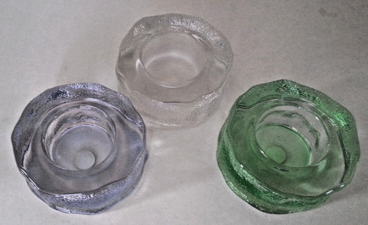 Iceland Trio Clear Ice Tealight Candle Holder Green Blue Purple Partylite P7223