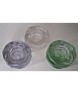 Iceland Trio Clear Ice Tealight Candle Holder Green Blue Purple Partylit... - $22.72