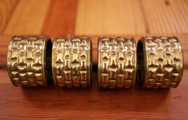 Lot of 4 Bamboo Texture Fancy Brass Dinner Napkin Holders Rings India Si... - $29.99
