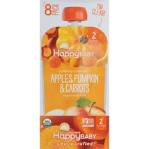 HAPPY BABY ORGANICS APPLE,PUMPKIN,CARROT BABY FOOD - 4oz.POUCH - 8COUNTS - $21.93